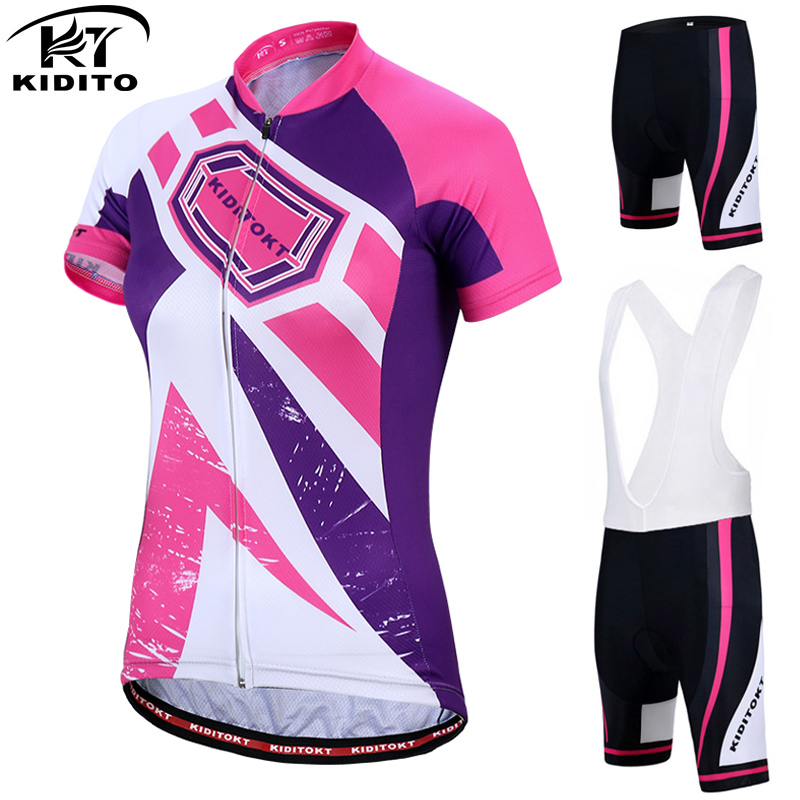 KIDITOKT Breathable Bicycle Jersey Clothes Women Downhill Short Sleeve Bike Clothing Ropa Ciclismo Cycling Sets maillot cycling