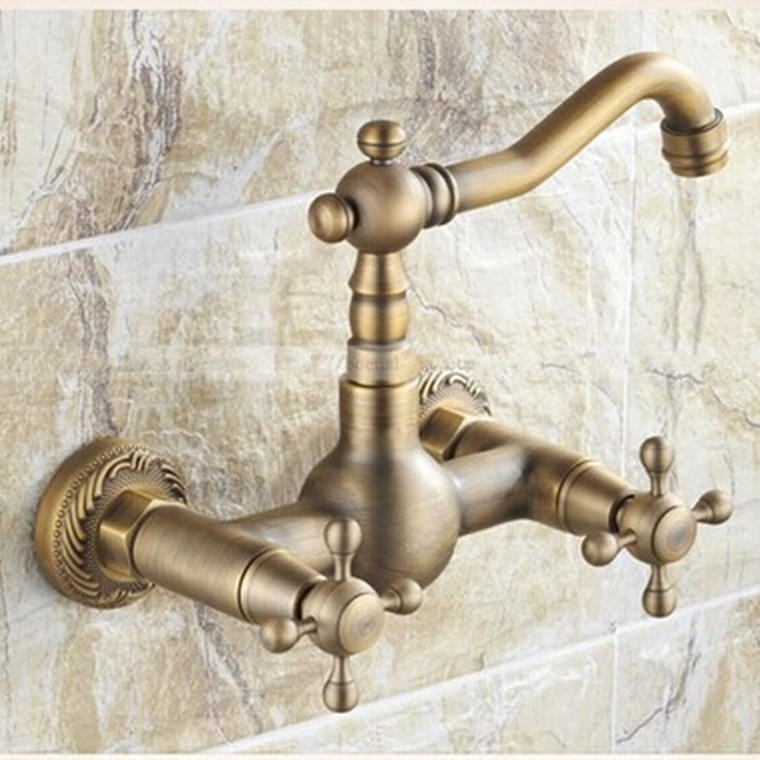 360 degree spin antique brass washbasin hot and cool bathroom kitchen ,washroom double handle brass faucet vintage brass faucet everso solid brass kitchen faucet double spouts 360 degree