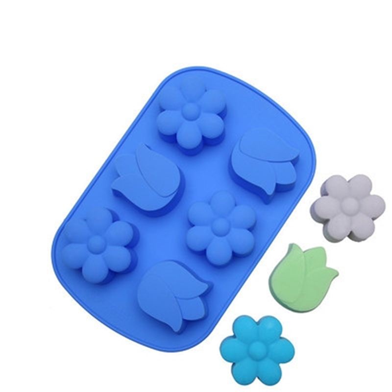 Silicone Mold Handmade Soap Products Soap Mold DIY Plum Flower Tulips Food Grade Silicone Materia Soap Making Tool Free Shipping