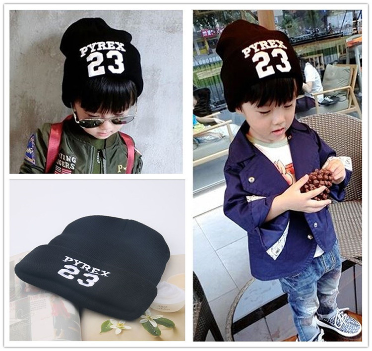 New Sale Beanie Hat Autumn Winter Spring 23 Letter Design Baby Crochet Casual Tuque Kids Gorro