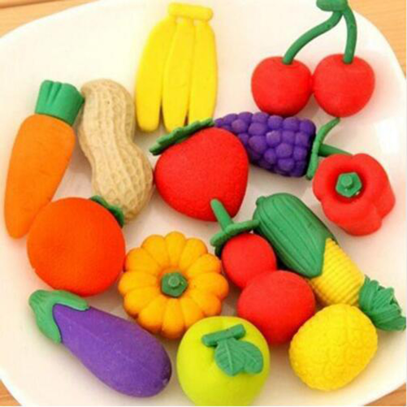 3pcs/Set, Cute Cartoon Rubber Creative Shape DIY Fruits And Vegetables Eraser Student School Office Supplies Stationery Prizes