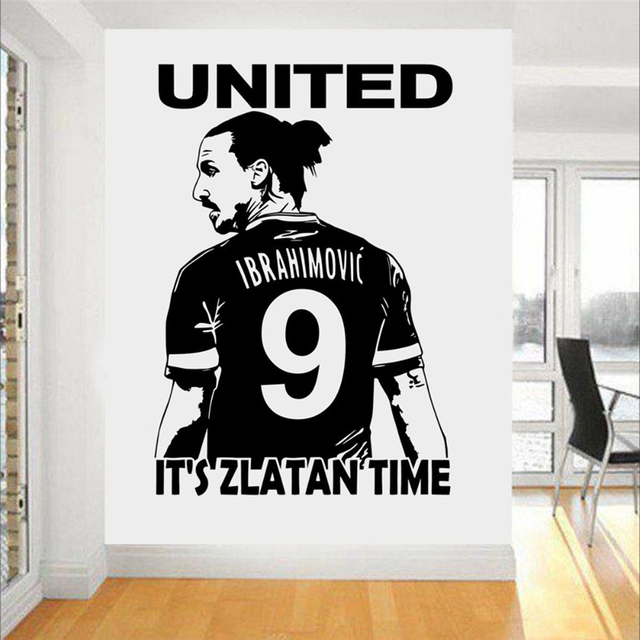 Zlatan Ibrahimovic Football Star Wall Art 3d Poster Soccer Wall Stickers  For Kids Room Boy Bedroom