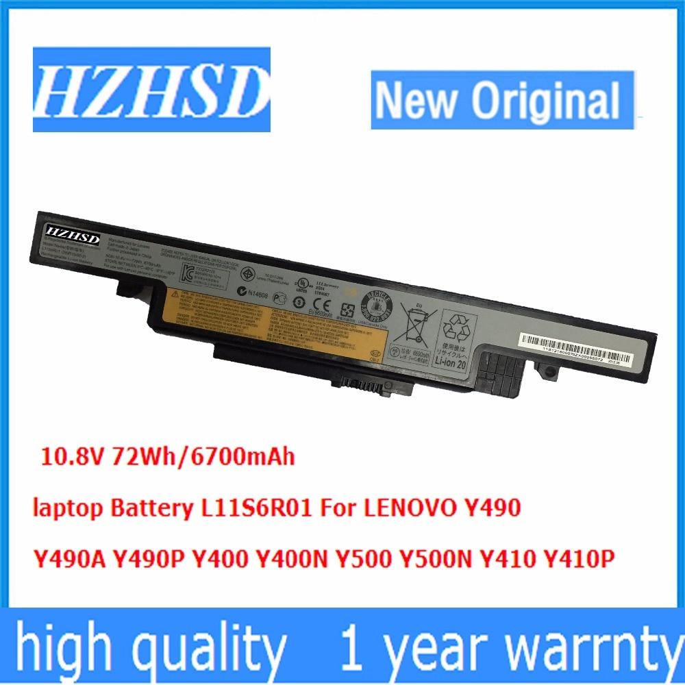 Оригинальный аккумулятор для ноутбука L11S6R01, 6700 мАч, 10,8 В, 72 Вт/ч, для LENOVO Y490, Y490A, Y490P, Y400, Y400N, Y500, Y500N, Y410, Y410P