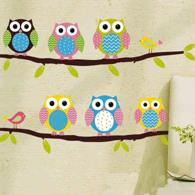 Baby Room Owl Wall Decal Zooyoo1020 Original Cartoon Wall Art Animal Wall  Stickers For Kids Room