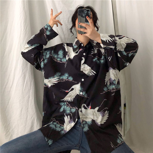 Autumn Korean Harajuku Chiffon Japanese Crane Print Shirts Retro Women's Blouse Ulzzang Street Fashion Loose BF Female Tops 2