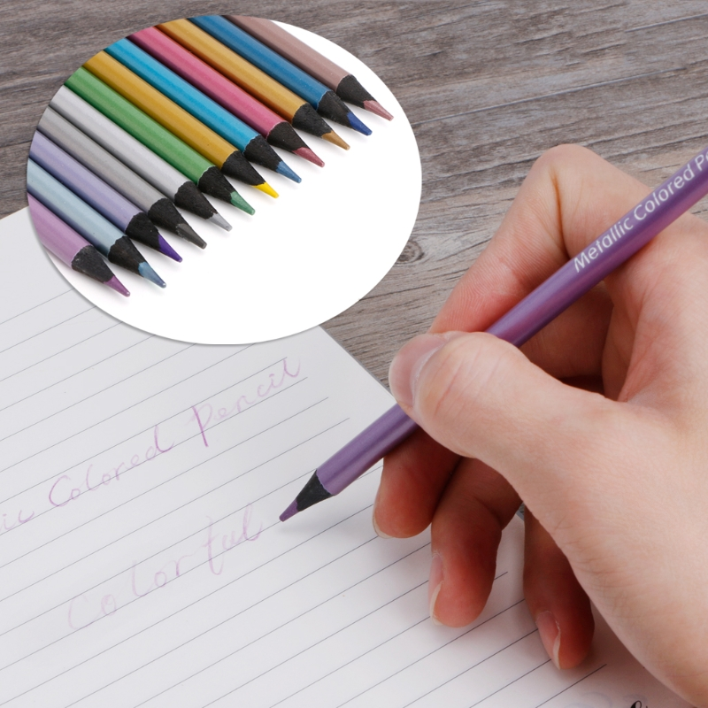 12Pc Metallic Colored Pencil Drawing Sketching Painting Non-toxic Stationery Set