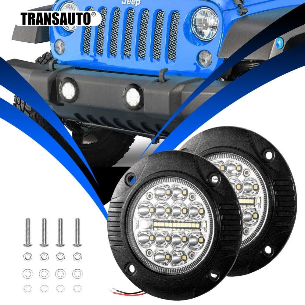 2Pcs Flush Mount 5Inch Round LED Bar Driving LED Fog Lights Flood Spot Combo Beam OffRoad Work Light for Jeep Truck ATV UTV 12V