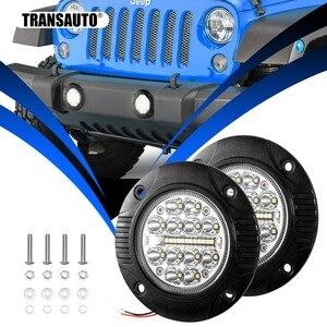 Phare affleurant 5 pouces   Barre de conduite, 2 pièces, phares antibrouillard, Spot d'inondation, faisceau Combo, lumière de travail tout-terrain pour Jeep ATV UTV 12V