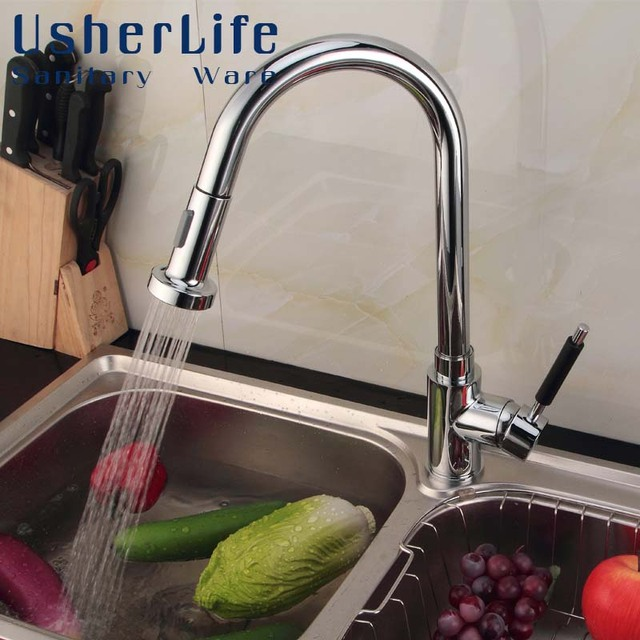 Usherlife Brass Pull Down Kitchen Faucet 360 Rotated Swivel Spout