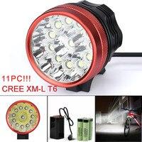 ISHOWTIENDA Usb Rechargeable Bike Light Front Handlebar 28000LM 11 x CREE XM L T6 LED 6 x 18650 Cycling Light Waterproof Lamp