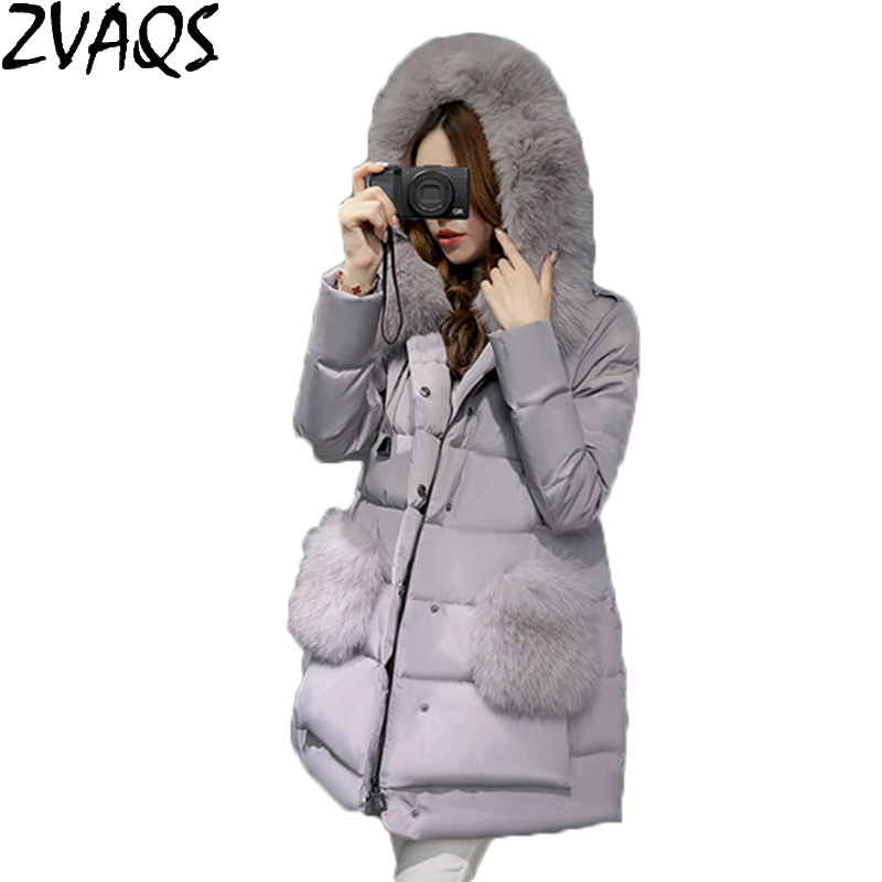 Winter Jacket Women 2018 Fashion Faux Large Fox Fur Collar Hooded Down Winter Coat Medium Long Cloak Parkas Female Outwear YM293