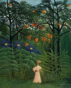 High quality Oil painting Canvas Reproductions Woman Walking in an Exotic Forest (1905). by Henri Rousseau painting hand painted