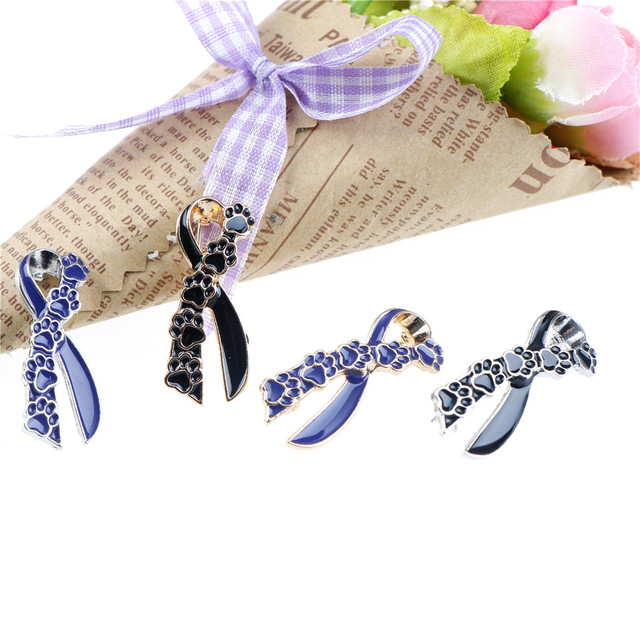 Ribbon Pin Metal Purple Blue Paw Prints Brooch Dog Lover Suit Shirt Collar Lapel  Pins For