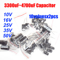 Frete Grátis 10valuesX2pcs = 20 pcs 10 V-50 V 3300 UF-4700 uF Capacitor Eletrolítico de Alumínio Variedade Kit
