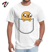 Adventure Time Pocket Jake Retro Men Top T-shirts O Neck Short Gorillaz 100% Ronaldo Tops Shirts Normal