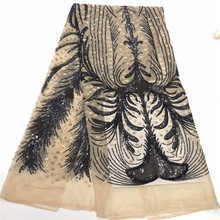 Nigerian Laces Fabric Embroidery high quality african lace cotton nigerian french mech fabric dress bh1-411