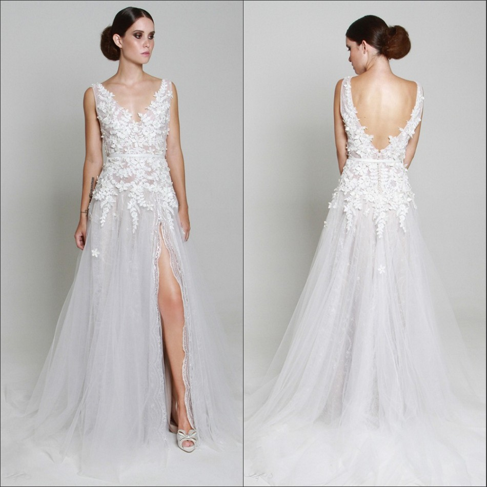 New Arrival Lace Beach Wedding Dress 2016 Sexy V Neck Backless Sheer Appliques Split Front Boho Bridal Gowns In Dresses From Weddings Events On