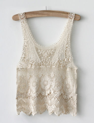 ITFABS Newest Arrivals Fashion Hot Chic Women Summer Sexy Hippie Boho Crochet Lace Beige Vest Hollow Out Sleeveless Tank Top