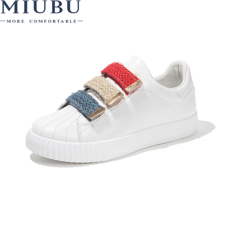 MIUBU Breathable White Shoes Hook Loop Massage Ladies Shoes Fabric Solid Sneakers Shoes Round Toe Sewing Women Casual Shoes in Women 39 s Vulcanize Shoes from Shoes