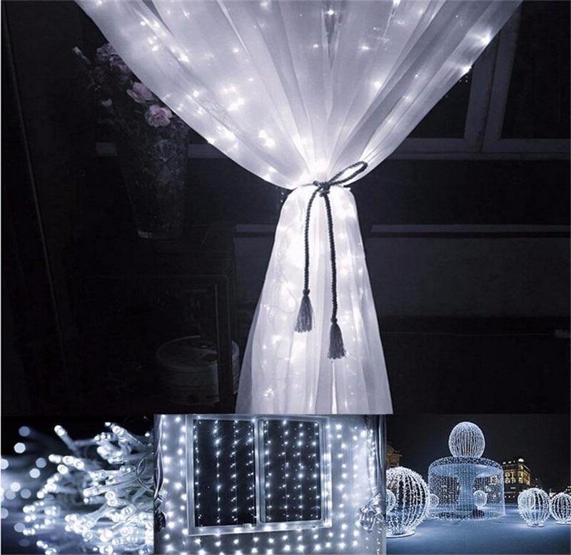 LED rideau lumière 3 M * 3 M 300 ampoule LED noël noël la Diode électroluminescente EU Plug blanc multicolore scintillant lampe à LED