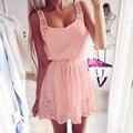 2016 nova mulheres Chiffon sem mangas verão praia recorte Sexy Slim Mini vestido Vestidos