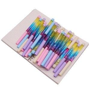 Image 2 - 50 pcs Sveglio della penna del gel 0.5 millimetri Fata Bastone Penna A Sfera Drift Sabbia Scintillio Penna Di Cristallo Arcobaleno Dei Colori della Sfera Creativa penna Bambini di Scintillio
