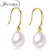 Фотография Real 18k Gold Pearl Earrings Jewelry, Anti allergic 18K Real Gold Drop Earrings For Women Trendy Girl Wedding Birthday Best Gift
