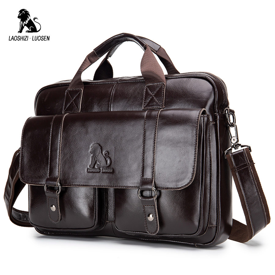 LAOSHIZI LUOSEN Genuine Leather Men's Briefcase Business Computer Bag Fashion Messenger Bags Man Shoulder Bag Male Handbags