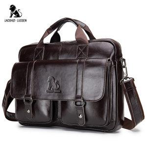 Image 1 - LAOSHIZI LUOSEN Genuine Leather Mens Briefcase Business Computer Bag Fashion Messenger Bags Man Shoulder Bag Male Handbags