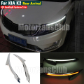 LED Head Light Eyebrows Trim Lamp Bezel Cover Headlight DRL For KIA K2 2011 2012 2013 2014 With Turn Signal