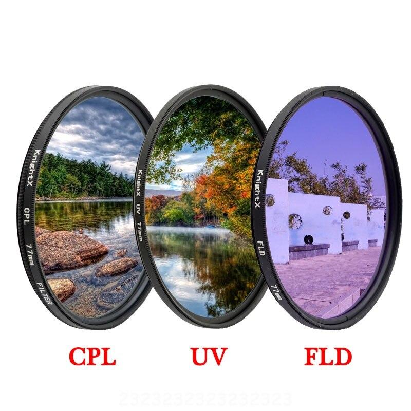 KnightX FLD UV CPL Filtro de lente de cámara para canon eos sony d3300 nikon d70 kit de fotografía 1200d luz 49 52 55 58 67 77 MM