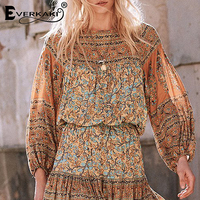 Everkaki Bohemian Floral Chiffon Blouse Women Tops Gypsy Shirts Lantern Long Sleeve Boho Womens Tops And Blouses 2018 Autumn