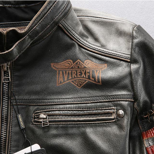 Genuine leather motorcycle racing jacket AVIREXFLY motorbike racing jacket cowhide leather road ride jacket