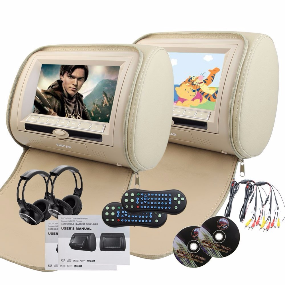 Car Headrest DVD Player Pupug beige Universal Digital Screen zipper Car Monitor USB FM TV Game IR Remote control two headphones 2pcs lot digital tft screen zipper car pillow headrest cd dvd player monitor usb fm 32 bit game disc remote with 2xir headsets