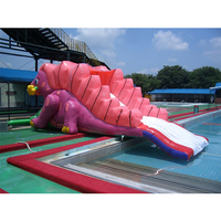 PVC dinosaur water inflatable bouncer pool water slide with blower forkids