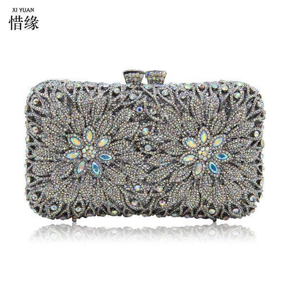 цена на XIYUAN BRAND New Women Fashion Bridal Day GOLD Party Wedding Dinner Evening Bags Crystal Diamonds Bridesmaid Day Clutch Purse