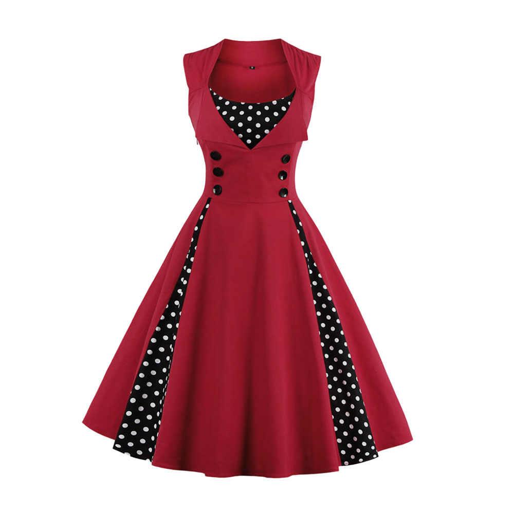 5cbbad3b196 ... Kenancy летнее женское платье ретро Винтаж 50 60 s в горошек Pinup  рокабилли Хепберн Платья для ...