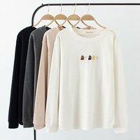 Plus size long sleeve O Neck women t shirt 2018 dark gray & black & white & Khaki t shirt women tops autumn knitted tshirt 4XL