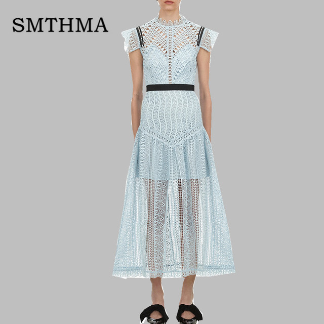 Us 3119 35 Offsmthma 2019 New Arrive Spring Self Portrait Blue Lace Long Dress Women Runway Hollow Party Dress Vestidos In Dresses From Womens