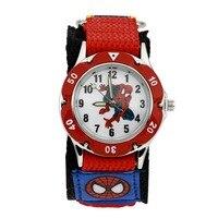 Cartoon Spiderman Children Watches Fashion Boys Kids Students Wristwatch Luminous Nylon Sports Watches Analog