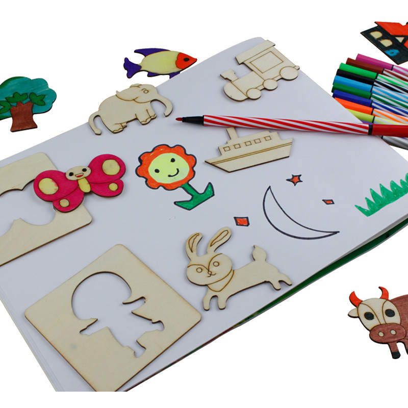 Купить с кэшбэком kids Drawing Toys set with markers Baby toy wooden Coloring Board Children Creative Doodles Template Early Educational Toy new