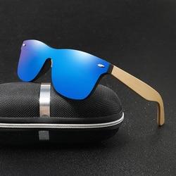 Wood Sunglasses Men Women Square Bamboo Women for Women Men Mirror Sun Glasses Oversize Retro De Sol Masculino Handmade