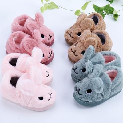 BOMIMI KidsWinter Cotton Slippers  Slippers Home Indoor Non - Slip Children Cartoon Cute Warm Soft Girls Boys E568