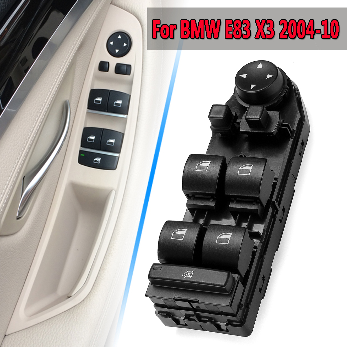 Nouveau Conducteur de Voiture Lève-Vitre Miroir Contrôle Commutateur D'unité Convient Pour BMW E83 X3 2004-2010 Nouveau Noir Gauche /droite Haute Match/Bas Match