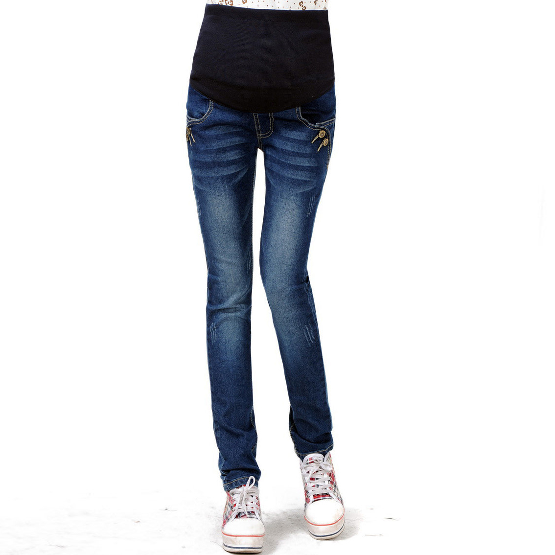 Elastic Waist Denim Cotton Maternity Jeans Pants for Pregnancy Clothes Pregnant font b Women b font