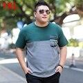 Plus ropa tamaño más grande del o-cuello decoración del bloque del color masculino de gran tamaño de La Camiseta elástico de manga corta t-shirt 7XL 6XL