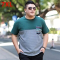 Plus size men's clothing larger size  o-neck color block decoration male big size  T-shirt elastic short-sleeve t-shirt 7XL 6XL