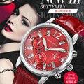 Relógios de Marca de luxo Relojes Mujer VIUIDUETURE Única Mulher Elegante relógio de Quartzo Relógio de Pulso 9 Cores Ladies Leather Watch Band