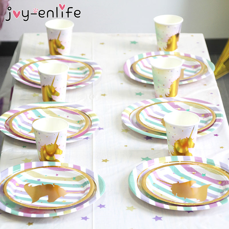 JOY-ENLIFE Unicorn Party Decoration Kit Unicornio Plates/Cups/Napkins/Table Cover Baby Shower Birthday Decor Kids Party Supplies