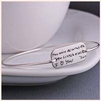 SG Personalized 925 sterling Silver Handwriting bar Bracelet for women Custom Engraved Letters Bracelet&Bangle fashion Jewelry